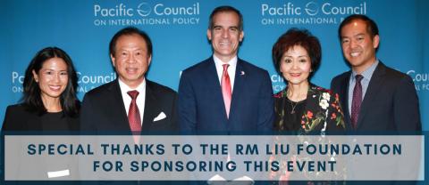 Liu family with L.A. Mayor Eric Garcetti in 2018